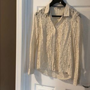 Women's Volcom Cream Lace Long Sleeve Button Up S